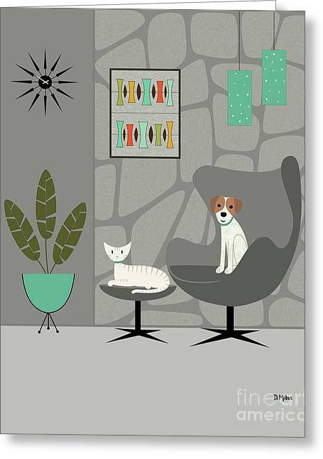 Stone Wall With Dog And Cat Greeting Card