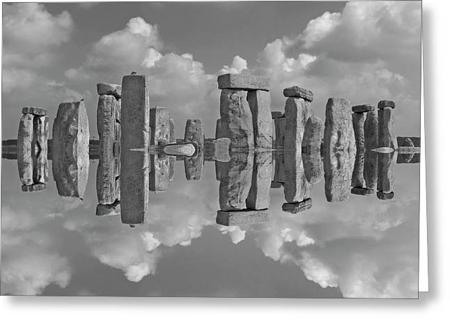 Stonehenge Bw Greeting Card by Betsy Knapp