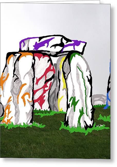 Greeting Card featuring the mixed media Stonehenge Chakras by Mary Mikawoz