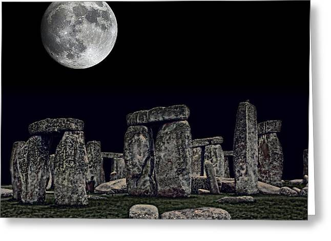 Stonehenge Moon Greeting Card