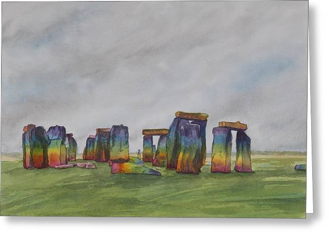 Stonehenge Rainbow Greeting Card by Debbie Homewood
