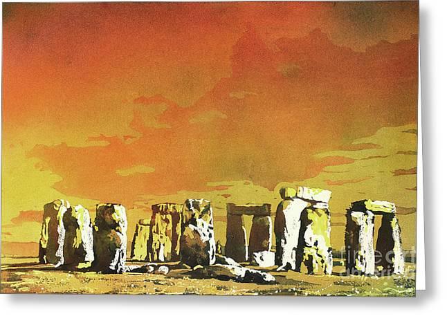 Stonehenge Ruins Greeting Card by Ryan Fox