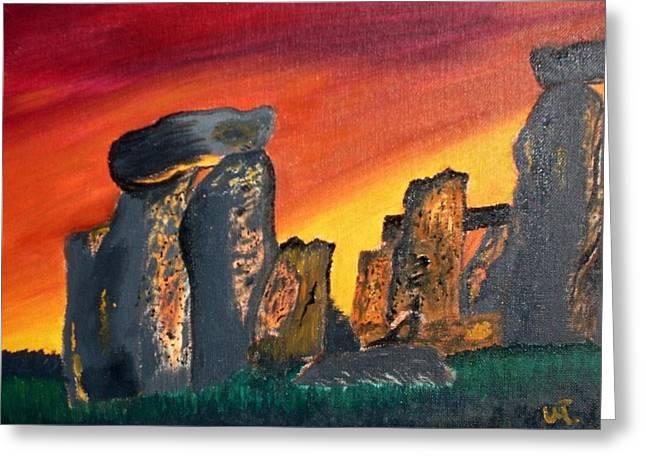 Stonehenge Sunrise Greeting Card by Warren Thompson