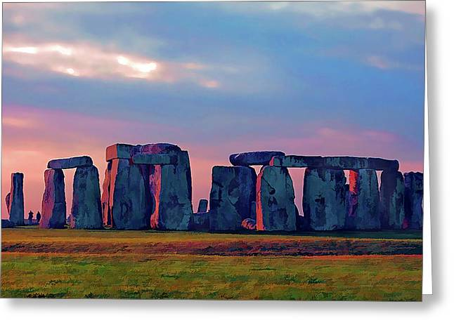 Stonehenge Sunset Colors Greeting Card by Elaine Plesser