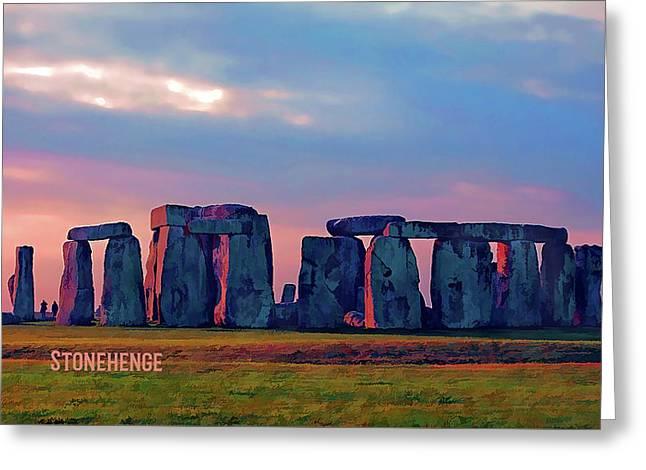 Stonehenge Sunset Colors Text Stonehenge Sq Greeting Card by Elaine Plesser