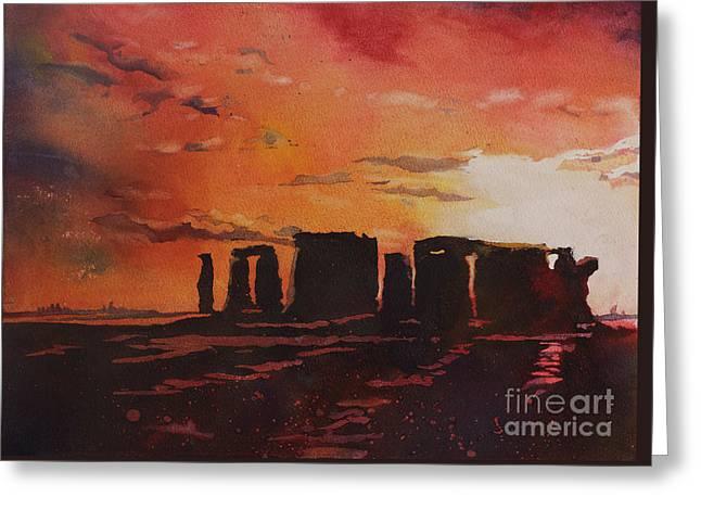 Stonehenge Sunset Greeting Card by Ryan Fox
