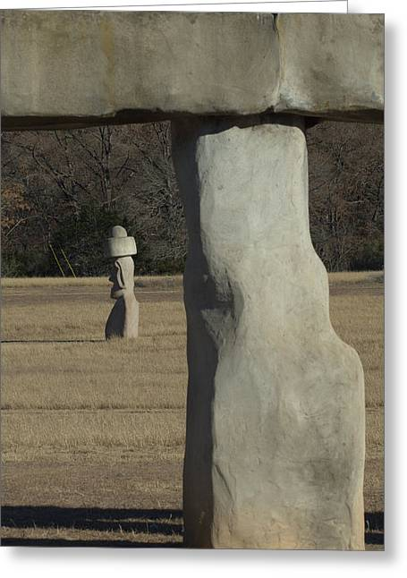 Greeting Card featuring the photograph Stonehenge Two Meets Easter Island by Karen Musick