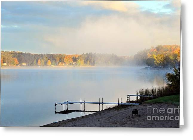Stoneledge Lake Beach Morning Greeting Card by Terri Gostola