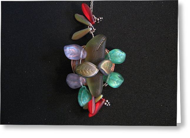 Wrap Jewelry Greeting Cards - Stones and Leaves Greeting Card by Judith Z Miller