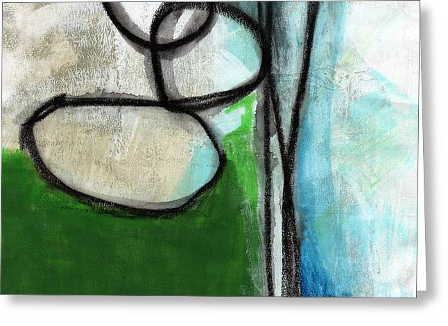 Stones- Green And Blue Abstract Greeting Card by Linda Woods