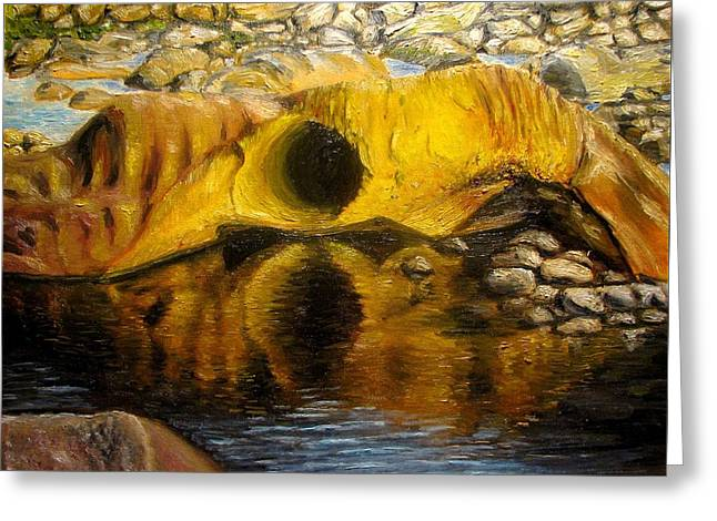 Stones Ocoee River In Tennessee Landscape Original Oil Paintings Greeting Card by Natalja Picugina