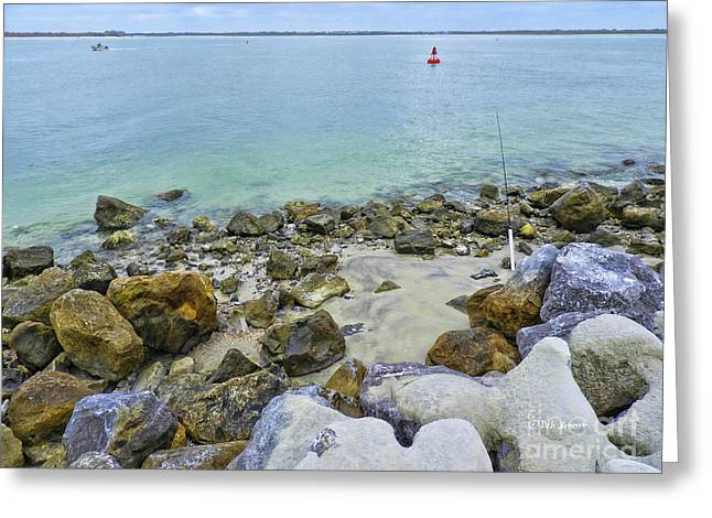 Stones Sand Water And Boats Greeting Card