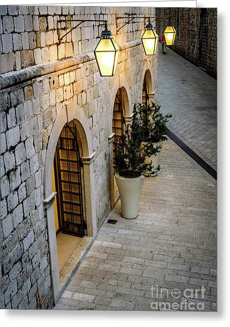 Stonework And Lights Of St Dominika Street, Game Of Thrones Kings Landing, Dubrovnik, Croatia Greeting Card by Global Light Photography - Nicole Leffer