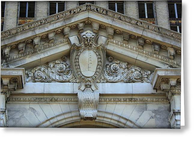 Masonry Of Detroit's Michigan Central Station Greeting Card by Anita Hiltz