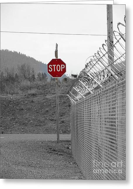 Stop Here And There Too Greeting Card by Marie Neder