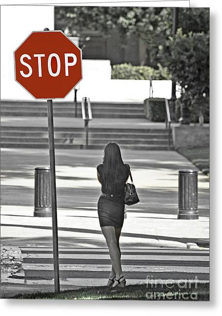 Stop... Look Both Ways Greeting Card by Mark Hendrickson
