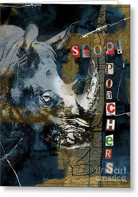 Stop Rhino Poachers Wildlife Conservation Art Greeting Card