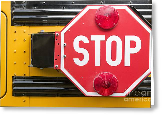 Bus Signs Greeting Cards - Stop Sign on School Bus Greeting Card by Andersen Ross