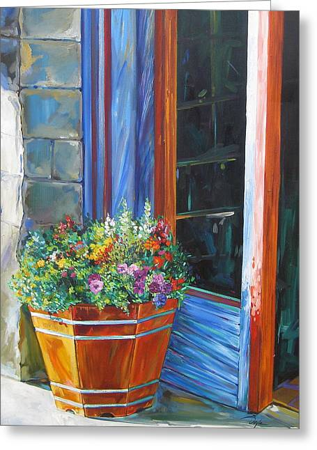 Stopping At An Entryway Greeting Card by Karen Doyle