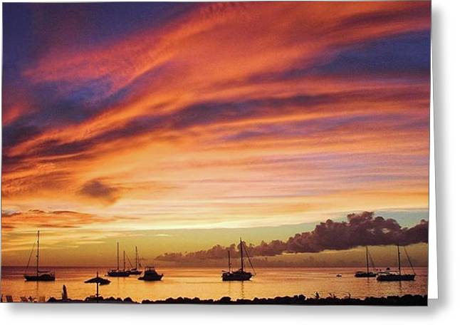 Store Bay, Tobago At Sunset #view Greeting Card
