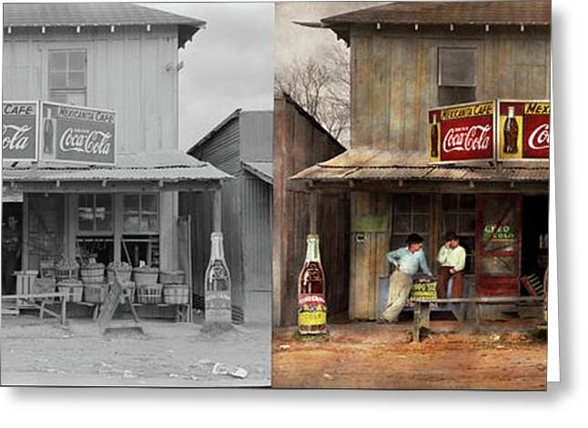 Greeting Card featuring the photograph Store - Grocery - Mexicanita Cafe 1939 - Side By Side by Mike Savad