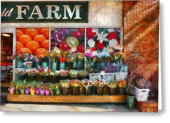 Store - Westfield Nj - The Flower Stand Greeting Card by Mike Savad
