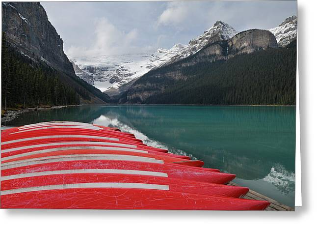 Stored Red Canoes At Lake Louise Banff National Park Alberta Greeting Card by Reimar Gaertner