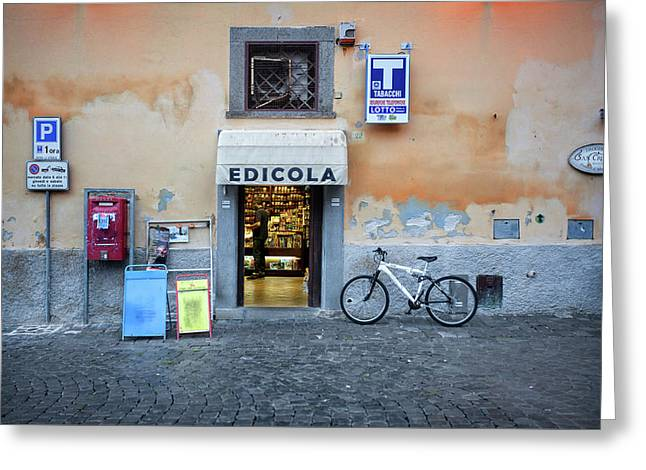 Storefront In Rome Greeting Card by Al Hurley