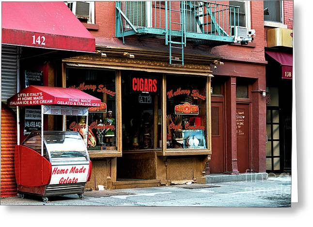 Greeting Card featuring the photograph Storefronts On Mulberry Street by John Rizzuto