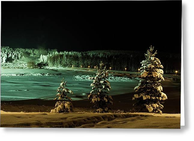 Storforsen In Night Greeting Card by Tamara Sushko