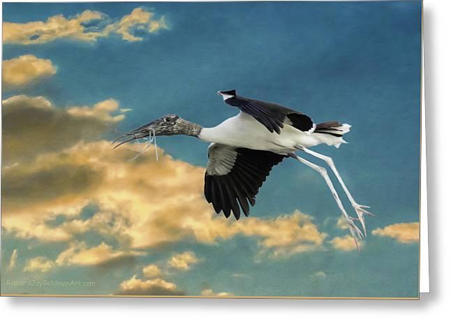Stork Bringing Nesting Material Greeting Card