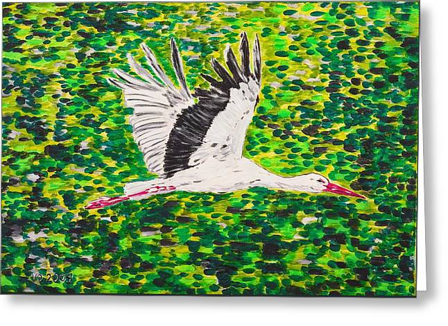 Stork In Flight Greeting Card