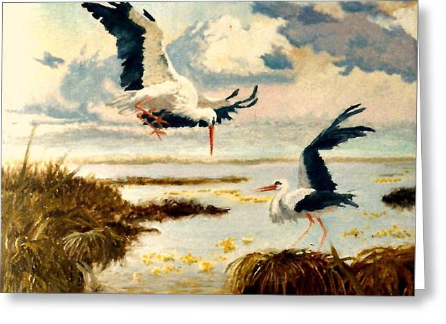 Storks II Greeting Card by Henryk Gorecki