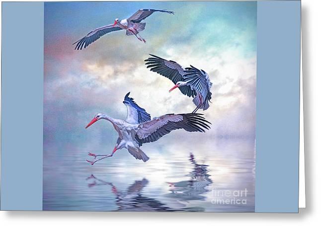 Storks Landing Greeting Card by Brian Tarr