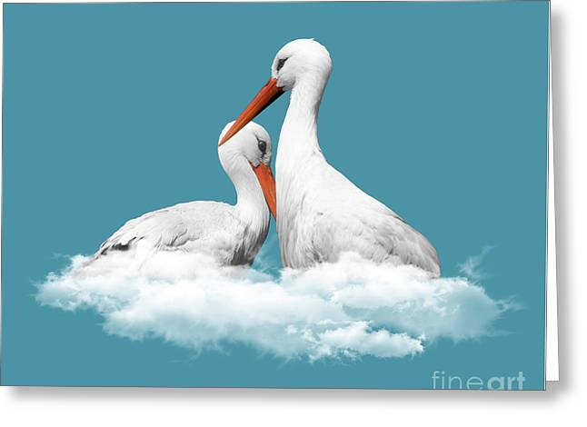 Storks On Clouds Greeting Card by Absentis Designs