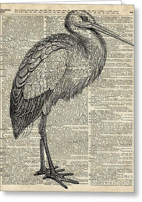 Storkwild Bird Vintage Ink Illustration Over Old Book Page Greeting Card
