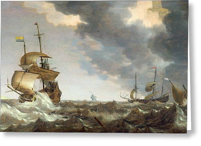 Storm At Sea Greeting Card by Bonaventura Peeters