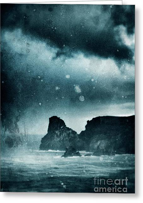 Storm At Sea In Cornwall, England Greeting Card by A Cappellari
