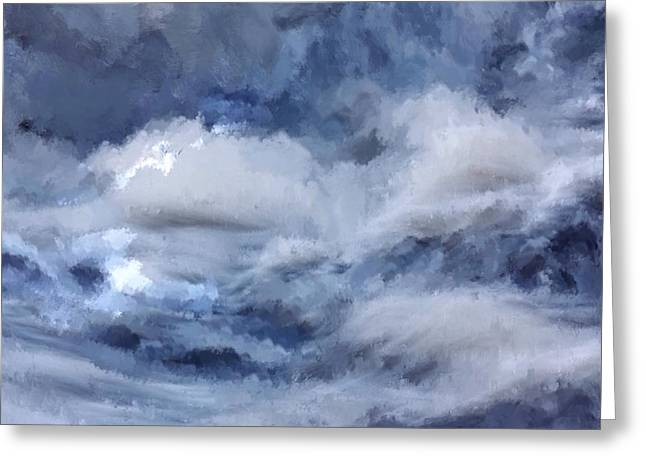 Greeting Card featuring the painting Storm At Sea by Mark Taylor