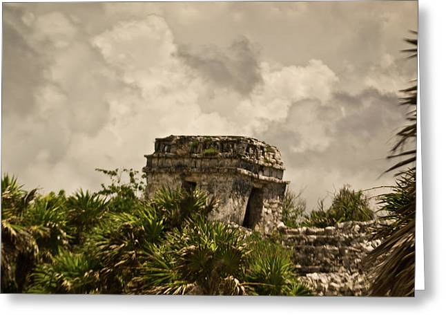 Solidity Greeting Cards - Storm at Talum Ruins Mexico Greeting Card by Douglas Barnett