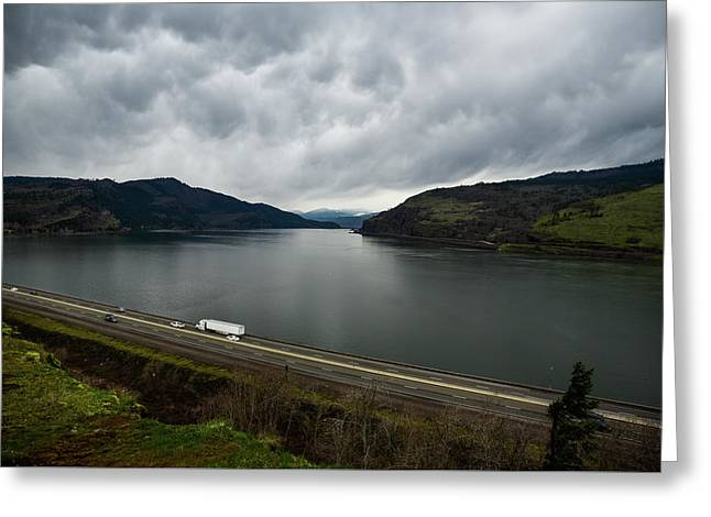Storm Brewing On The Columbia Greeting Card