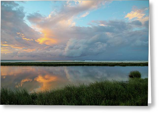 Storm Cloud Reflections At Sunset Greeting Card
