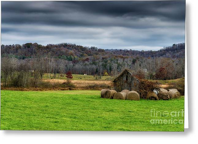 Storm Clouds And Hay Bales Greeting Card by Thomas R Fletcher
