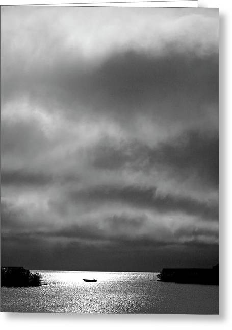 Storm Clouds Approaching Boat On Northern Saskatchewan Lake  Greeting Card