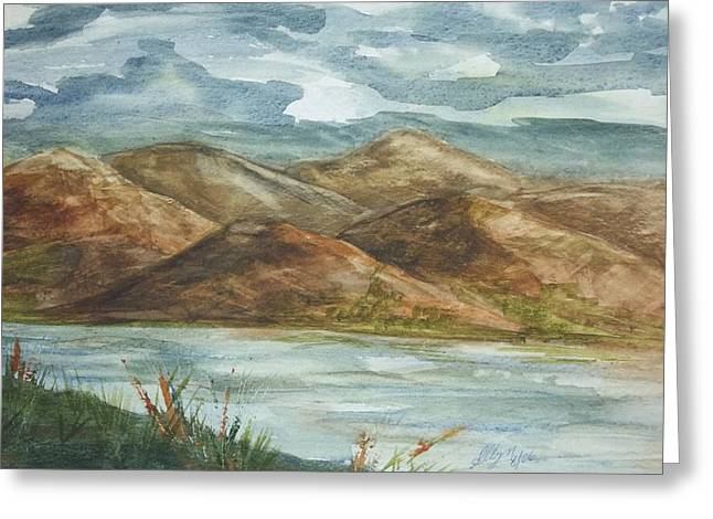 Greeting Card featuring the painting Storm Clouds by Ellen Levinson