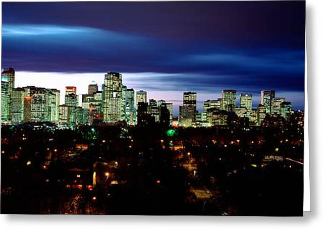 Storm Clouds Over A City, Crescent Greeting Card by Panoramic Images