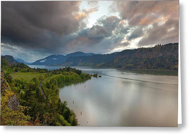 Storm Clouds Over Hood River Greeting Card by David Gn