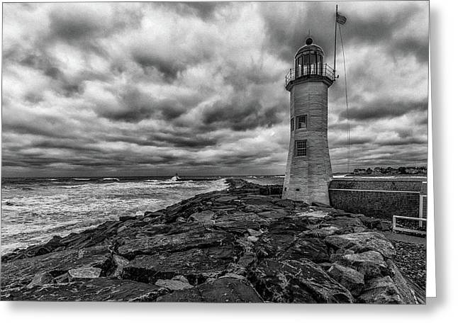 Storm Clouds Over Old Scituate Lighthouse In Black And White Greeting Card