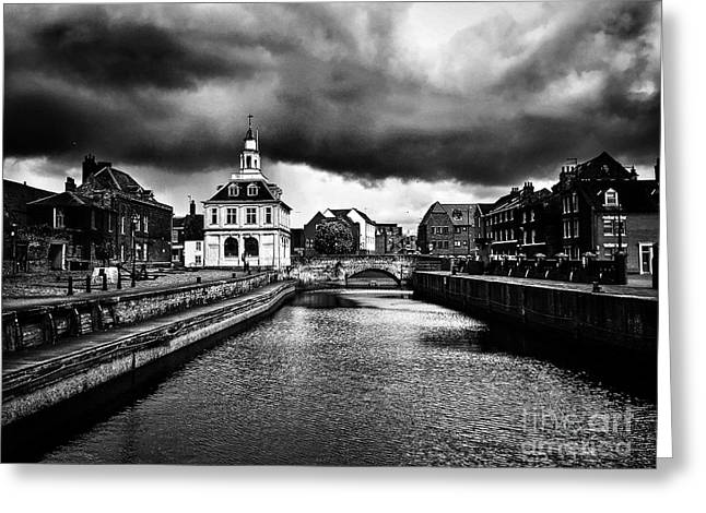 Storm Clouds Over Purfleet Quay Greeting Card by John Edwards