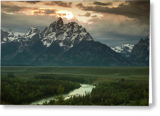 Fine Art Sunrise Greeting Cards - Storm Clouds over the Tetons Greeting Card by Andrew Soundarajan